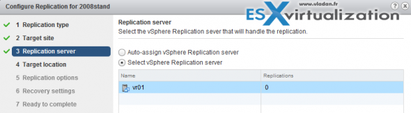 vSphere replication config with single vCenter server