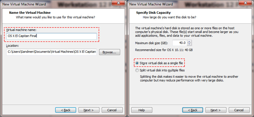 Name and Virtual Machine Disk